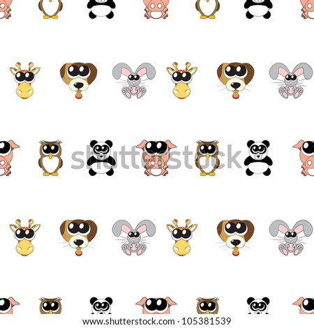 Vector  background with animals, seamless pattern