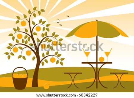 vector background with apple tree and apple juice