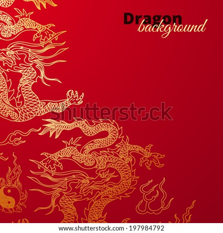 Stock Photo Vector background with asia dragons. Hand drawn illustration. Sketch.