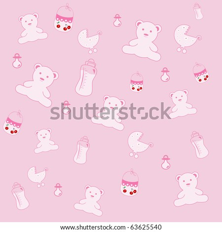 Vector background with baby toys, milk bottles. - stock vector