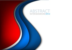 Vector background with blue and silver curve line on white and red space for text and message modern artwork design