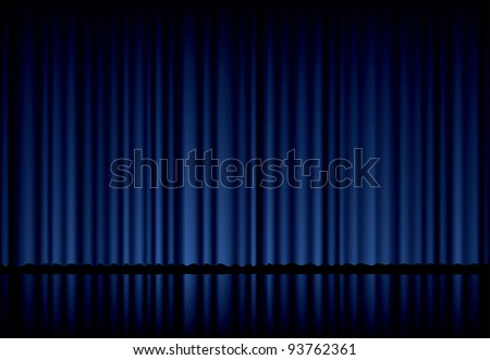 vector background with blue velvet curtain