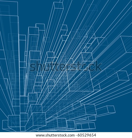 vector background with blueprint of abstract city