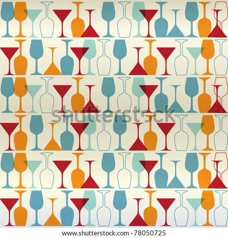 Vector background with bottles and wine glasses. Good for restaurant or bar menu design
