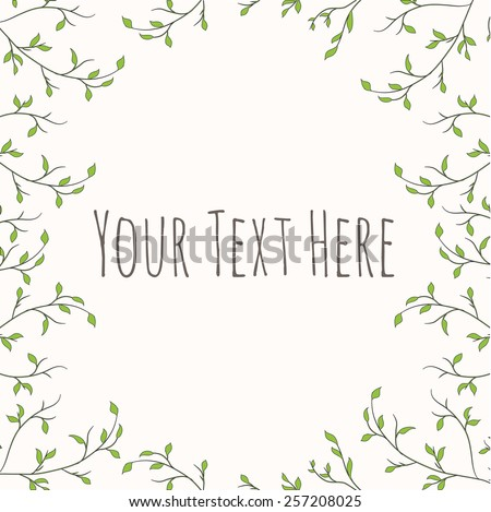 Vector background with branches with leaves #257208025