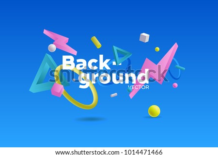 Vector background with bright colors and minimalistic shapes #1014471466