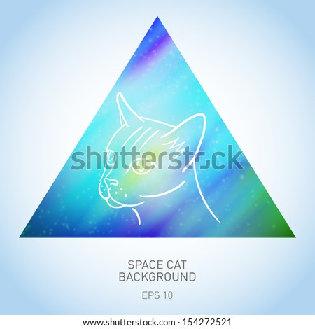 Stock Photo Vector background with cat in space triangle