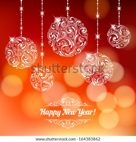 Vector background with Christmas decoration for your design. Vintage ornamental balls and bow on defocus background. Happy New Year greeting card