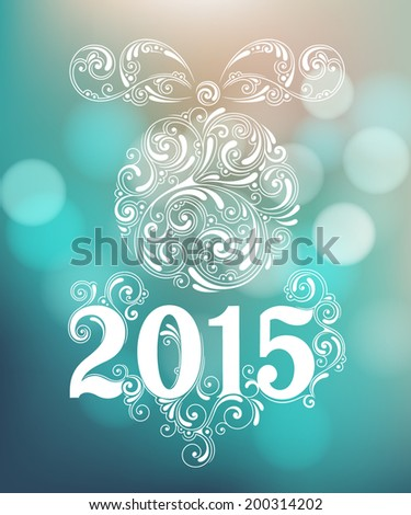 Vector background with christmas decoration for your design Vintage ornamental balls and bow on defocus background Happy New Year 2015 greeting card