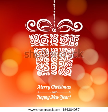 Vector background with Christmas decoration for your design Vintage ornamental gift box on defocus background Happy New Year greeting card