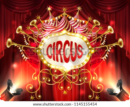 Vector background with circus signboard illuminated with spotlights and red curtains, golden trumpets, stars and ribbons. Decorative carnival banner with retro frame, billboard for announcements