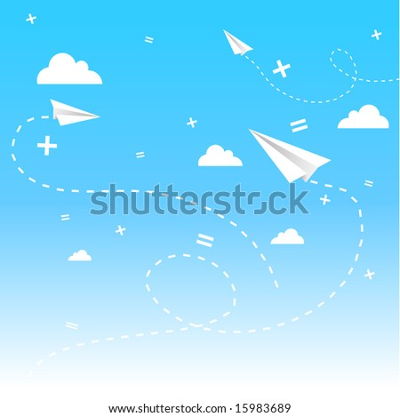 vector background with clouds, paper planes and math signs, on blue sky.