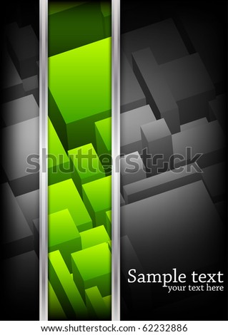 Vector background with cubes. Green color