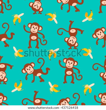 Vector background with dancing monkeys and flying banana. Seamless colored pattern. Symbol Chinese year of monkey.