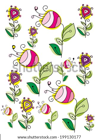 vector background with decorative and stylized flowers hand-drawn