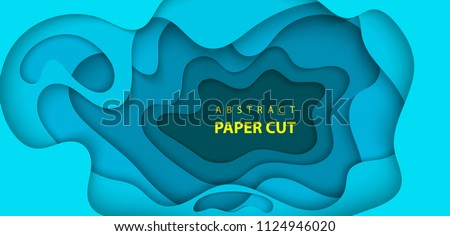 Vector background with deep blue color paper cut shapes. 3D abstract paper art style, design layout for business presentations, flyers, posters, prints, decoration, cards, brochure cover.
