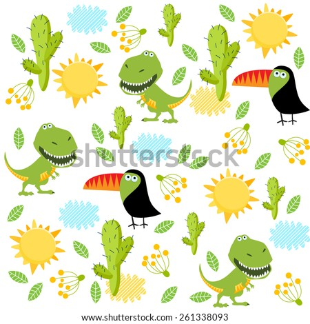 vector background with dinosaurs