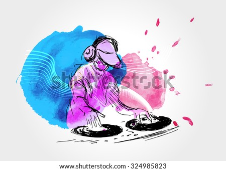vector background with djs