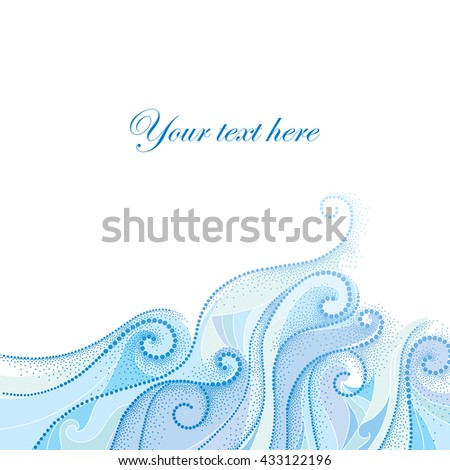 Vector background with dotted swirls and blue curly lines isolated on white. Maritime theme with waves and dots for summer design. Elegant horizontal dotted decor. Design elements in dotwork style.