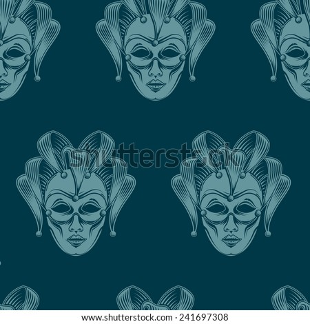 vector background with engraving venetian carnival mask emblem. seamless pattern