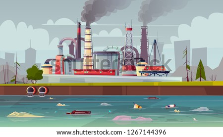 Vector background with environmental pollution. Factory plant smokes with smog, trash emission from pipes to river water. Grey sky and polluted grass. Ecology, nature concept with dirty pond, grey sky