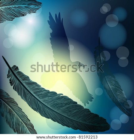 Vector background with feathers in moonlight