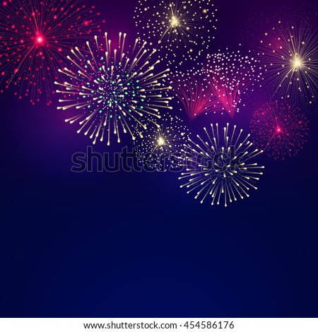 Vector background with festive colorful fireworks. File contains clipping mask.