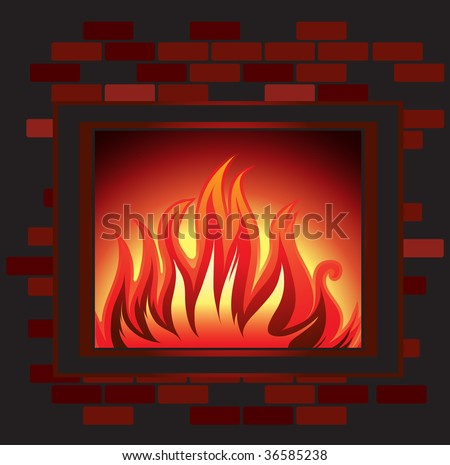 Vector Background with fire in the fireplace