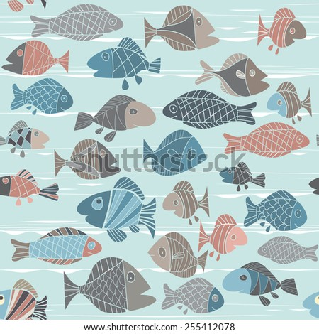 vector background with fishes