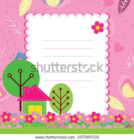 vector background with flowers and a home for children
