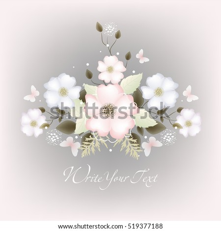 Vector background with flowers for design. Wedding card or invitation with abstract floral background. Abstract greeting card.