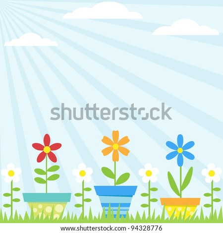 Vector background with flowers in pots