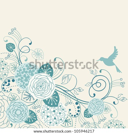 Vector background with flowers, leaves, bird. Stylized garden with branches of blooming tree in tints of blue. Light abstract floral illustration with text box.