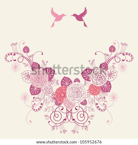 Vector background with garland of flowers, leaves and couple of birds. Invitation and greeting card for wedding. Frame of branches of blooming roses.Pink romantic abstract illustration with text box