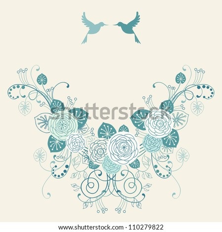 Vector background with garland of flowers, leaves and couple of birds. Invitation and greeting card for wedding. Frame of branches of blooming roses. Blue romantic abstract illustration with text box