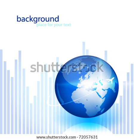 vector background with globe - stock vector