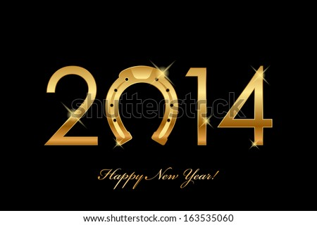 Vector 2014 background with gold horseshoe for good luck year of the horse