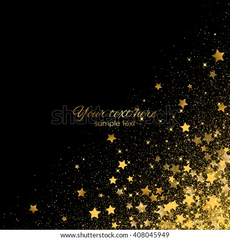 Vector background with gold shiny stars