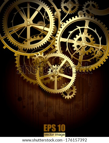 Stock Photo Vector background with golden gear wheels on dark dirty surface with blots