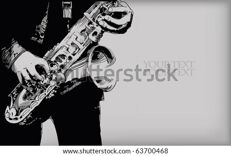 vector background with hand drawn saxophone