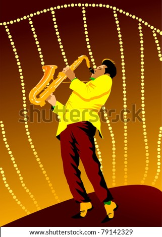 vector background with hand drawn saxophone;