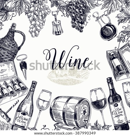 Vector background with hand drawn wine bottle, wine cask and wineglass. Winery illustration. Template design.