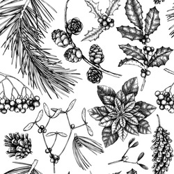 Vector background with hand drawn winter trees sketch. Seamless pattern with traditional christmas plants and flowers. Vintage holiday decor.