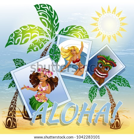vector background with hawaiian