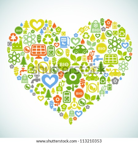 Vector background with heart shape contained from ecology icons