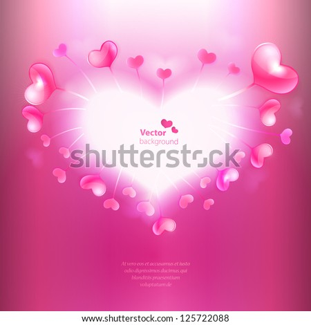 Vector background with heart shaped frame and glossy hearts.