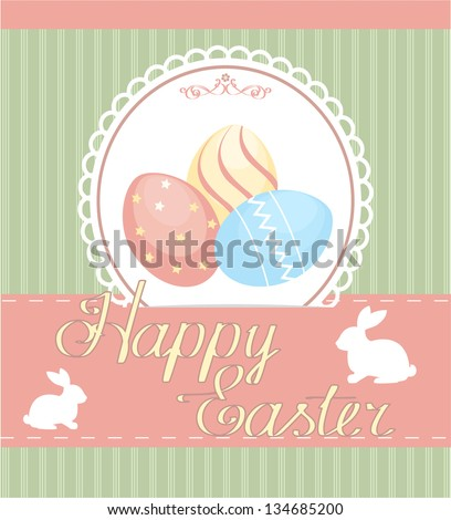 Vector background with holiday Easter eggs. Vintage style.