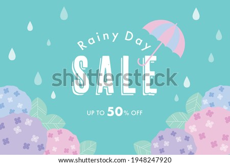 vector background with hydrangeas in the rain for banners, cards, flyers, social media wallpapers, etc. Foto stock ©