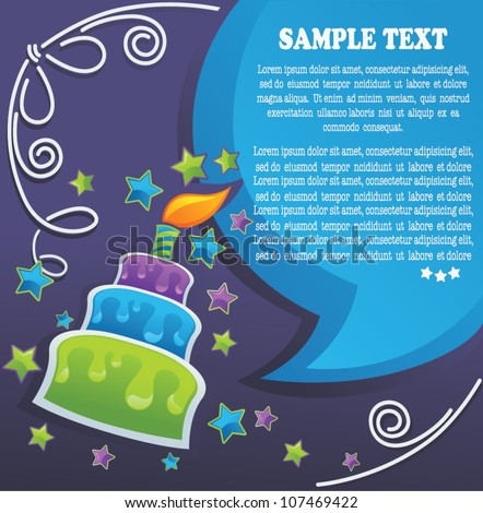 vector background with image of birthday cake, candle and speech bubbles