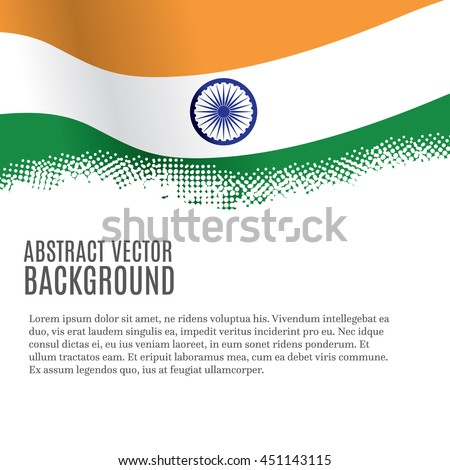 Vector background with Indian flag and copy space